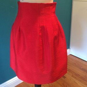 Red High Waisted Tulip Skirt